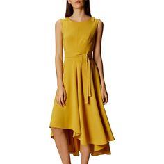 Karen Millen Asymmetric Hem Sleeveless Midi Dress, Yellow (£190) ❤ liked on Polyvore featuring dresses, holiday dresses, midi cocktail dress, flare sleeve dress, yellow midi dress and cocktail dresses
