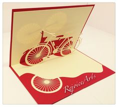 3D Pop Up Vintage Bicycle Card by RejoiceArts on Etsy