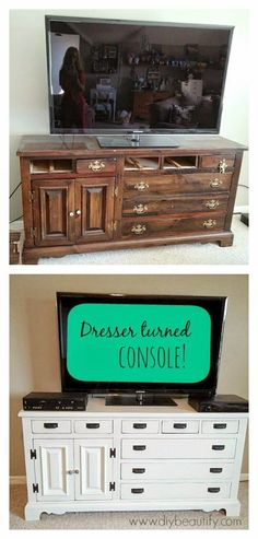 Farmhouse dresser-turned-TV-console DIY beautify