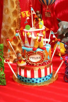 Circus + Carnival Extravaganza Birthday Party - Kara's Party Ideas - The Place for All Things Party Carnival Birthday Cakes, Circus Theme Cakes, Carnival Cakes, Circus Carnival Party, 2nd Birthday Party Themes, Circus Theme Party, Circus Birthday, Carnival Parties, Birthday Ideas
