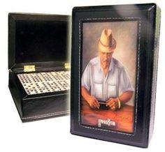Dominoes Set double six in leather case. Dozen painting to choose. Limited Ed #ArtworkontopcoverwSuperglazecoattoprotect