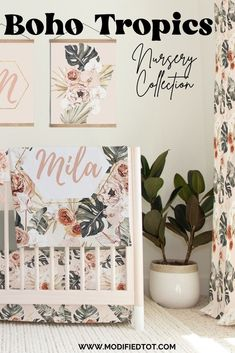 If you're looking for a baby girl nursery idea, don't miss this tropical boho nursery decor collection! Featuring baby girl crib bedding, removable wallpaper, and more. Bohemian Nursery, Floral Nursery, Baby Nursery Decor, Nursery Wall Art, Girl Nursery, Baby Girl Crib Bedding, Future Baby, Cribs, Tropical