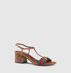 Gucci - leather t-strap mid-heel sandal with web 384825H90208462