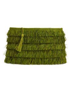 Joy Raffia Clutch Bag - Apple