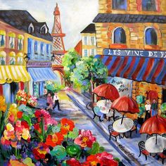 Paris Cafe  Original Painting Large painting by ElainesHeartsong