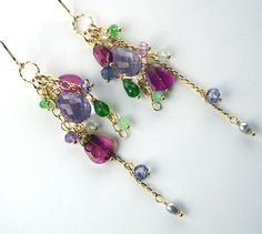 Pink Amethyst Earrings Rubelite Watermelon Tourmaline Gold Filled Chain Dangle Colorful Luxury Spring Fashion