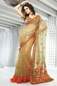 Tranquil Beige Brown Embroidered Saree