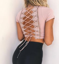 Autumn Casual Women T Shirts.ForeFair Sexy Cross Lace Up T Shirt Women Summer Autumn Short Sleeve Backless Crop Shirt Pink Ladies Top. Fall Winter Outfits, Spring Outfits, Cropped Tops, Lace Crop Tops, Cropped Top Outfits, Pink Crop Top, Mode Outfits, Fashion Outfits, 90s Fashion