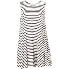 Striped Jersey A-Line Dress ($27) ❤ liked on Polyvore featuring dresses, vestidos, white, white dress, white jersey dress, white jersey, a line dress and stripe dress