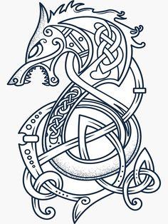 'Viking Dragon Tattoo Kattegat Floki T-Shirt & accessories f.- 'Viking Dragon Tattoo Kattegat Floki T-Shirt & accessories for Viking warriors Lover' Glossy Sticker by - Fenrir Tattoo, Norse Tattoo, Celtic Tattoos, Viking Tattoos, Armor Tattoo, Wiccan Tattoos, Indian Tattoos, Celtic Wolf Tattoo, Viking Symbols