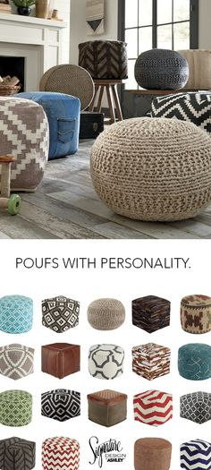Poufs with Personality - Home Furniture and Accessories - Ashley Furniture - #AshleyFurniture