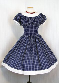 1950s Navy Blue Dress.  Perfect for a summer picnic.