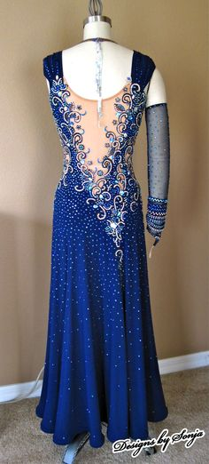 Custom made navy ballroom dance costume and jewelry designed and created by Sonja Ballin. All Designs copyright ©2014, Sonja Ballin of Tampa Bay, Florida. www.sonjadesigns.com Check us out (and like) on Facebook: https://www.facebook.com/pages/Designs-By-Sonja/220737151285770