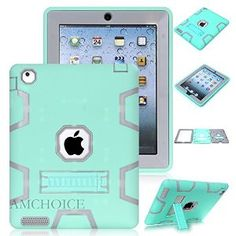 iPad 4 Case,iPad 3 Case AMCHOICE(TM) Full Body Hybrid Silicone&PC 3 Layer High Impact Resistant Armor Defender Cover For Apple iPad 2//3/4 (Mint Green+Grey) [Free Stylus]