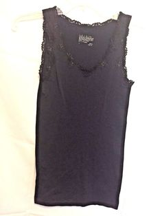 The Limited Black Top Laced Tee Size S Nylon Spandex V Neck Black Lace and Arms #TheLimited #Vneck #Career