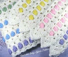 Candy Buttons Baby Afghan pattern by the Jewell's Handmades Baby Afghan Crochet Patterns, Baby Blanket Crochet, Crochet Afghans, Crochet Blankets, Crochet Mile A Minute, Crochet Car, Candy Buttons, Patchwork Heart, Baby Afghans