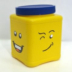Fun idea!!  You can make your own Lego Head storage can with an upcycled plastic can.