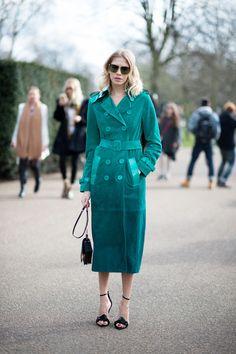 Elena Perminova attending Burberry fashion show at London / LFW
