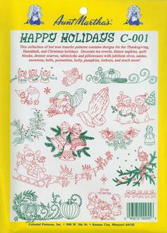 Aunt Martha's Iron-On Transfer Collections - Happy Holidays #Christmas $6.79