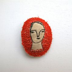 """Simply Scarlet,"" embroidered brooch - Cathy Cullis"