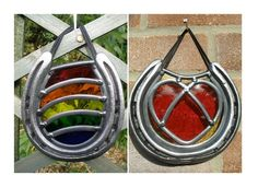 Stained glass rainbow or heart horseshoe - Good Luck, Good Memories Gift