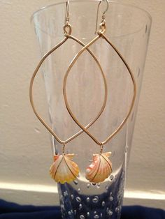 Sunrise shells dangles on gold fill hoops by Muah808 on Etsy, $90.00