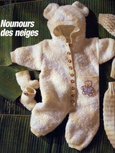Вязание для новорожденных комбинезона и вязание пинеток спицами Nounours des neiges, с переводом описания вязания для малышей комбинезона и вязание пинеток спицами с французского языка