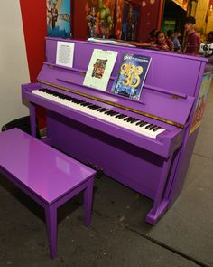 Purple painted Piano. Would be great with a two tone look. Maybe bench in blue grey
