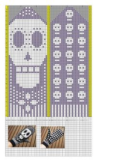 trendy knitting charts skull day of the dead Knitted Mittens Pattern, Crochet Mittens, Crochet Gloves, Knit Or Crochet, Knitting Charts, Knitting Stitches, Knitting Patterns, Crochet Skull, Tapestry Crochet