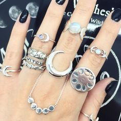 Image of Sterling Silver Double Moon With Rainbow Moonstone Ring
