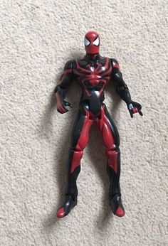 """Marvel 'black & red suit' #spider-man #(1996) 5.5"""" action #figure- toy biz- rare,  View more on the LINK: http://www.zeppy.io/product/gb/2/322400337731/"""