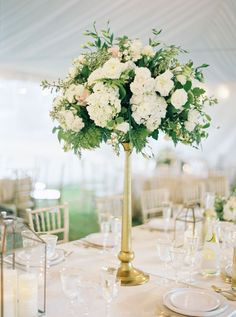 Tall Cream, Green and Gold Floral Centerpieces