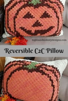 Crochet Projects Design Crochet the Pumpkin Pillow with this free Corner to Corner pattern. There is a plain pumpkin and a Jack-o'-lantern graph. Use to make many projects! Crochet Pumpkin, Crochet Fall, C2c Crochet, Holiday Crochet, Free Crochet, Free Knitting, Crochet Rugs, Crochet Cushions, Crochet Blocks