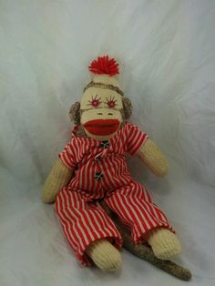 """20"""" Vintage Sock Monkey with Outfit Circus Monkey 