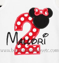 I wish I would have done this when we went to Disney.  Birthday Personalized Minnie Mouse Shirt by bowdaciousbaby2,