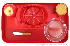 Tray with Materials for Coring and Slicing an Apple and Preparing an Apple Snack with Nut Butter