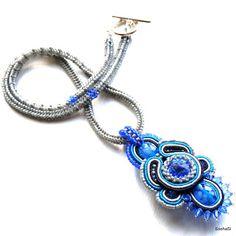 Beaded necklace with soutache pendant, Swarovski rivoli - by SashaSi