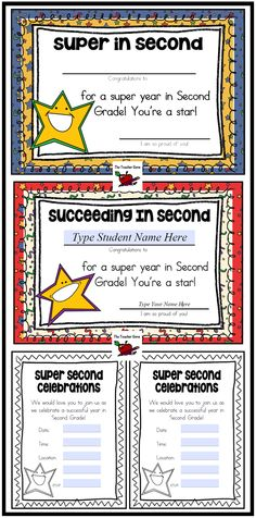End of Year Certificates for Second Grade. Editable name fields. Invitations to celebrations wth editable text fields too! ($)