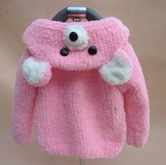 Warm Handmade Wool Sweaters Pink Bear Design Winter by RemioZone