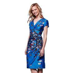 Yumi Blue butterfly print wrap dress | Debenhams