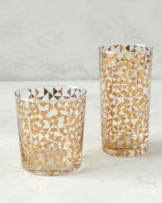"Dwell Studio ""Gold Triangles"" drinking glasses are an edgy, geometrical take on the popular precious metal (dwellstudio.com)"