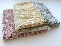Knitting with one colorful thin thread and a thicker neutral at the same time.