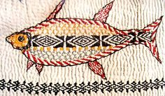 kantha stitching how to do it | Kantha quilt, detail showing embroidery of a fish