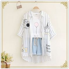 Tower embroidery Turn-down collar half sleeve striped shirt blouse mori girl 2016 summer Girls Fashion Clothes, Kpop Fashion Outfits, Korean Outfits, Mode Outfits, Cute Fashion, Cute Casual Outfits, Pretty Outfits, Stylish Outfits, Mode Emo