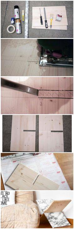 Voici les étapes simples pour fabriquer un porte-magazine en bois de style scandinave et minimaliste. Il vous faudra deux planches de 30 cm de large et 50 cm de long et coupez dans chacune d'elles une entaille de 15 cm de long et  18 cm de large (si vos planches font 18 cm d'épaisseur !)