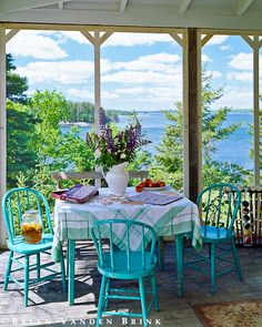 .blue chairs....blue skies......beauty on the porch......