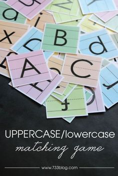 Uppercase/Lowercase Matching Game Free Printable by @733blog