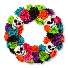 21 Halloween Wreaths to Get Your Front Door Ready For Trick-or-Treating  Day of the Dead Wreath ($20)