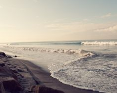 ocean waves beach nature photograph / water, coast, california, blue, serene, zen / waves