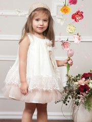 Girls Special Occasion Chiffon Dress with Lace Border & Crochet Hat
